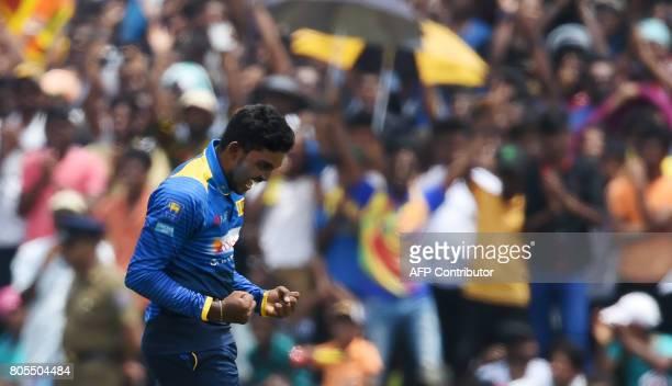 Sri Lanka's Wanidu Hasaranga celebrates after he dismissed Zimbabwe's Tendai Chatara during the second oneday international cricket match between Sri...