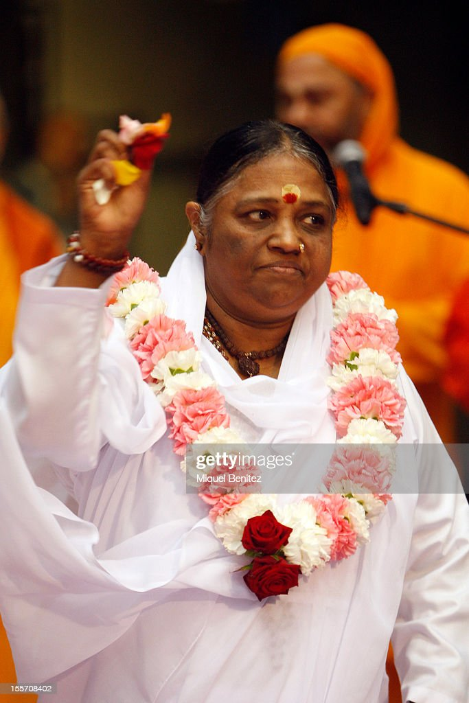 Sri Mata Amritanandamayi Devi, known as 'Amma' (mother) by her followers arrives to the Darshan on November 7, 2012 in Granollers, Spain.