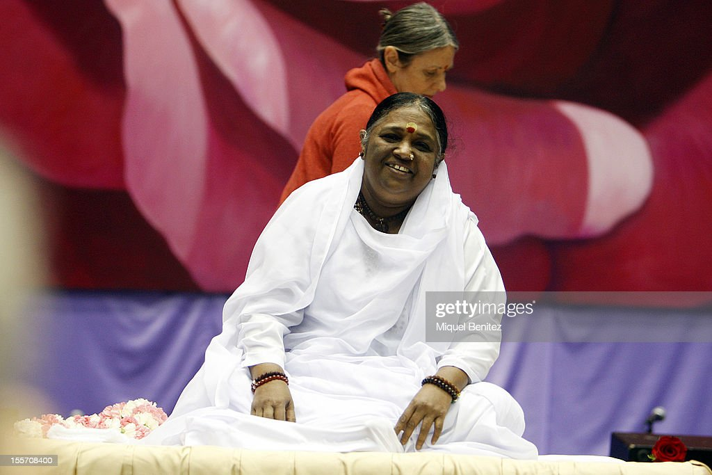 Sri Mata Amritanandamayi Devi, known as 'Amma' (mother) prepares the Darshan on November 7, 2012 in Granollers, Spain.