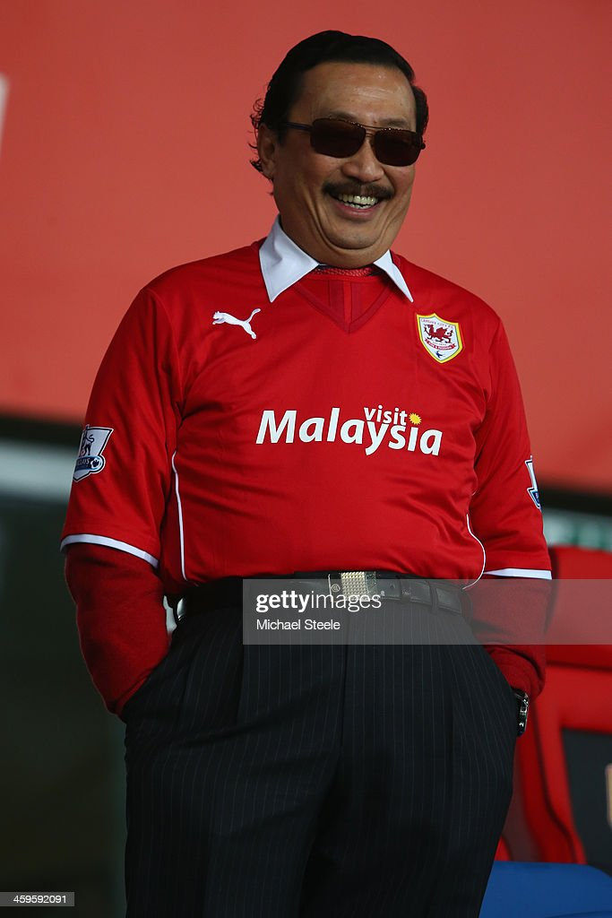 Sri Vincent Tan the owner of Cardiff City looks on from the directors box ahead of the Barclays Premier League match between Cardiff City and...