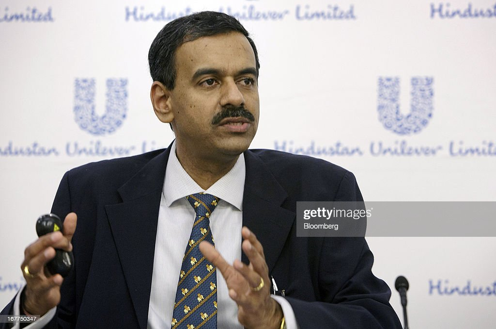 Sridhar Ramamurthy, chief financial officer of Hindustan Unilever Ltd., gestures while speaking during the company's earnings news conference in Mumbai, India, on Monday, April 29, 2013. Hindustan Unilever, the Indian unit of the world's second-biggest consumer-goods company, rose the most in nine months in Mumbai trading after fourth-quarter profit beat analysts estimates. Photographer: Kuni Takahashi/Bloomberg via Getty Images