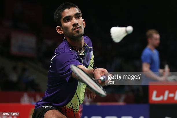Srikanth Kidambi of India competes against Jen Hao Hsu of Chinese Taipei in the second round match of Men's Singles in the 2015 Total BWF World...