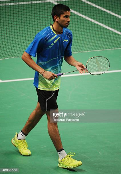 Srikanth Kidambi of India competes against Michael Fariman of Australia in the 2015 Total BWF World Championship at Istora Senayan on August 11 2015...
