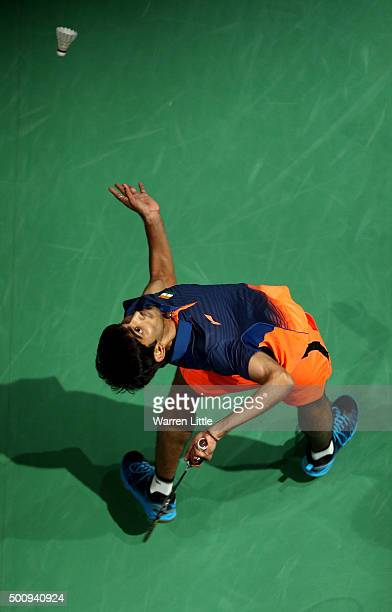 Srikanth Kidambi of India in action against Tien Chen Chou of Chinese Taipei in the Men's Singles matchduring day three of the BWF Dubai World...
