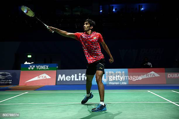 Srikanth Kidambi of India in action against Viktor Axelsen of Denmark in the Men's Singles match during day two of the BWF Dubai World Superseries...