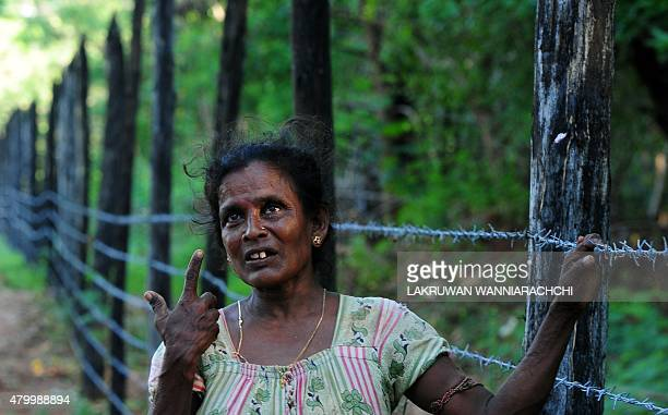 SriLankaconflictmilitarylandFEATURE In this photograph taken on June 9 Tamil refugee Balasundaram Rasamalar 53 speaks to an AFP reporter on the...