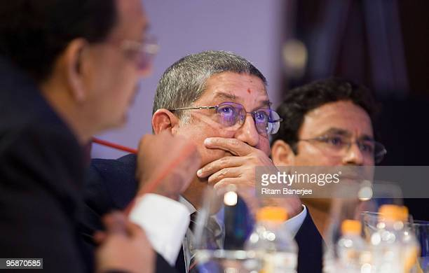 N Srinivasan the BCCI Secretary and the owner of Chennai Super Kings team attends the Indian Premier League Auction 2010 on January 19 2010 in Mumbai...