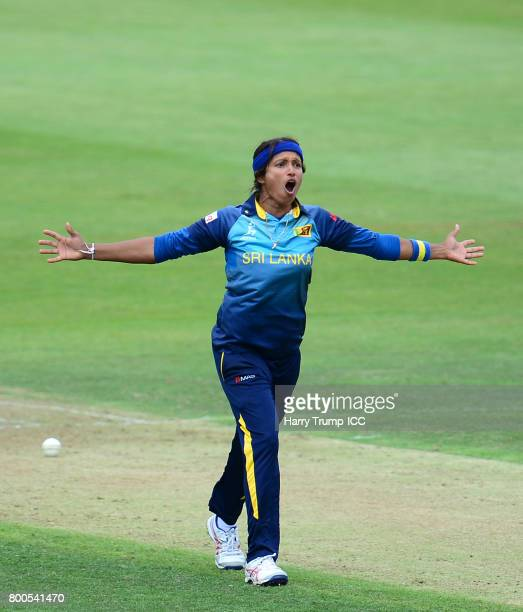 Sripali Weerakkody appeals during the ICC Women's World Cup 2017 match between New Zealand and Sri Lanka at the Brightside Ground on June 24 2017 in...