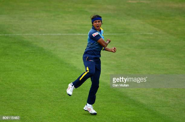 Sripali Weerakkody of Sri Lanka celebrates taking the wicket of Poonam Raut of India during the ICC Women's World Cup 2017 match between Sri Lanka...