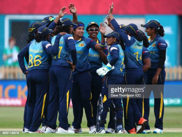 Sripali Weerakkody of Sri Lanka celebrates with team mates after taking the wicket of Punham Raut of India during the ICC Women's World Cup match...