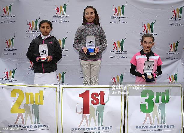 Srishti Dhurandhar second place winner Victoria Deator first place winner and Nicole Criscone third place winner in the Girls 1011 Chipping...