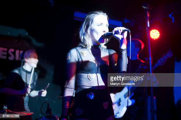 Srummer Sophie Galpin and singer Faith Vern of English rock band Pins performs on stage at Volksbuhne in Berlin Germany on November 19 2017
