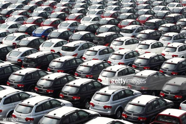 Ssangyong Motor Co vehicles intended for export await shipment at the Port of Pyeongtaek in Pyeongtaek South Korea on Tuesday March 30 2010 South...