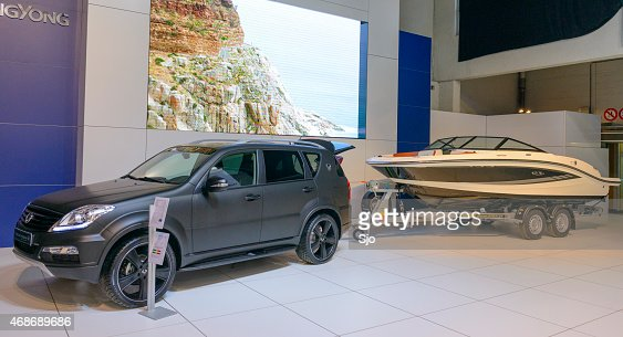 Modern Suv With Trailer And Jet Ski Stock Photo Getty Images