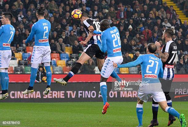SStipe Perica of Udinese Calcio scores his team's first goal during the Serie A match between Udinese Calcio and SSC Napoli at Stadio Friuli on...