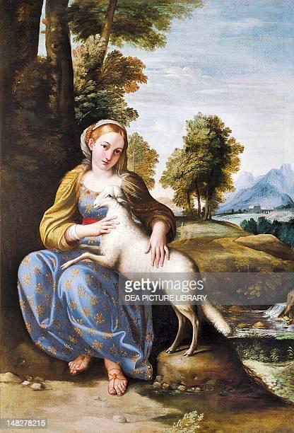 St Agnes by Domenichino oil on canvas 143x101 cm Rome Galleria Nazionale D'Arte Antica Di Palazzo Barberini