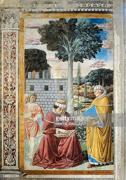 St Agostino reading the epistles of St Paul detail from the Stories of St Augustine by Benozzo Gozzoli fresco Church of St Augustine San Gimignano...