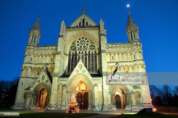 St Albans Cathedral during blue hour