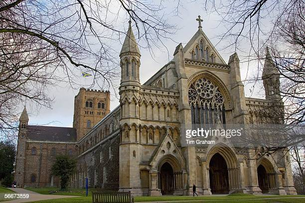 St Alban's Cathedral the site of new education and conservation work is seen on January 26 2006 in St Albans England