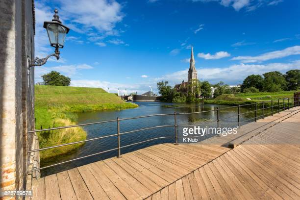 St Alban's Church view from wooden bridge of Kastellet garden at Copenhagen Denmark