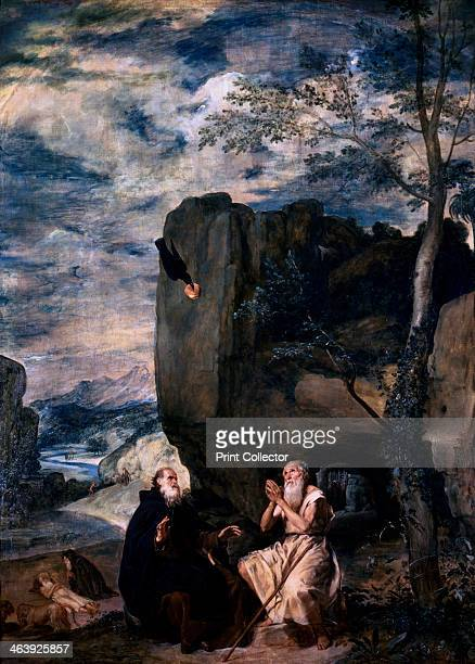 St Anthony and St Paul the Hermit' 1645 St Anthony and St Paul the Hermit in the desert being fed by a raven