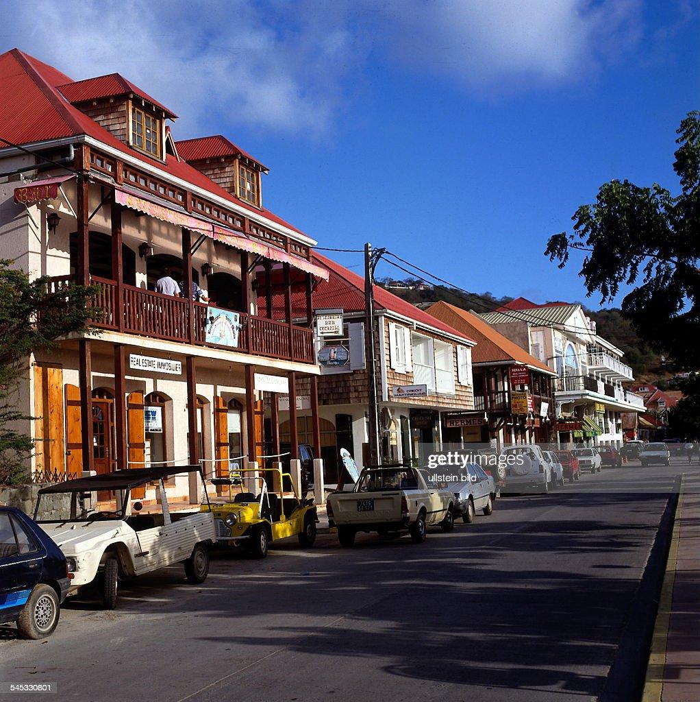 St Barthelemy Häuserfassade in Gustavia 90er Jahre