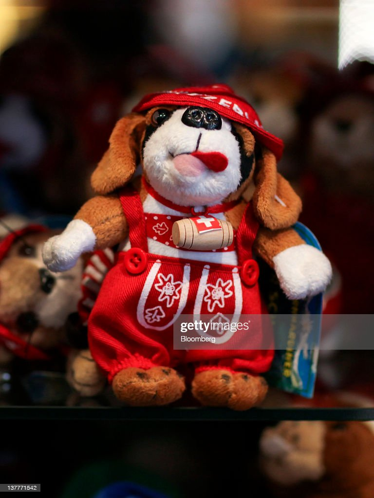 A St. Bernard stuffed animal is displayed for sale in a souvenir shop during day two of the World Economic Forum (WEF) in Davos, Switzerland, on Thursday, Jan. 26, 2012. The 42nd annual meeting of the World Economic Forum will be attended by about 2,600 political, business and financial leaders at the five-day conference. Photographer: Chris Ratcliffe/Bloomberg via Getty Images
