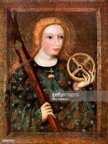 'St Catherine' 13651367 St Catherine martyred early in the 4th century depicted holding a wheel She was intended to be executed on an instrument of...
