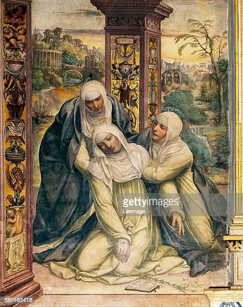 St Catherine fainting from the stigmata by Sodoma fresco Chapel of St Catherine St Dominic's Basilica Siena