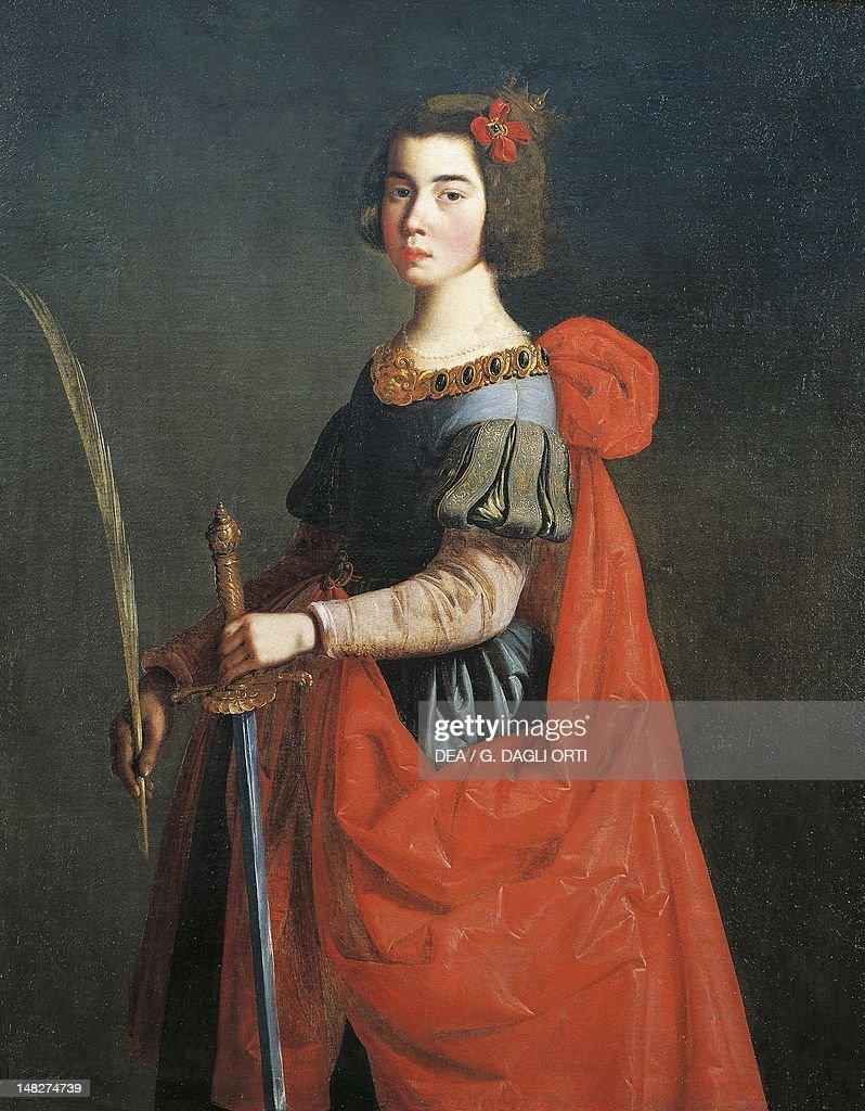 St Catherine of Alexandria 16351640 by Francisco de Zurbaran oil on canvas 125x100 cm Bilbao Museo De Bellas Artes De Bilbao