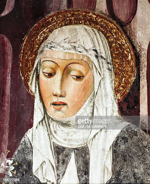 St Catherine of Siena 13th15th century by an unknown artist fresco Detail St Francis Church Lodi Italy