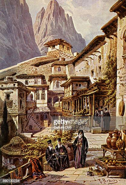 St Catherine 's Monastery cloister in the monastery also known as Sacred Monastery of the GodTrodden Mount Sinai or Santa Katarina Located in the...