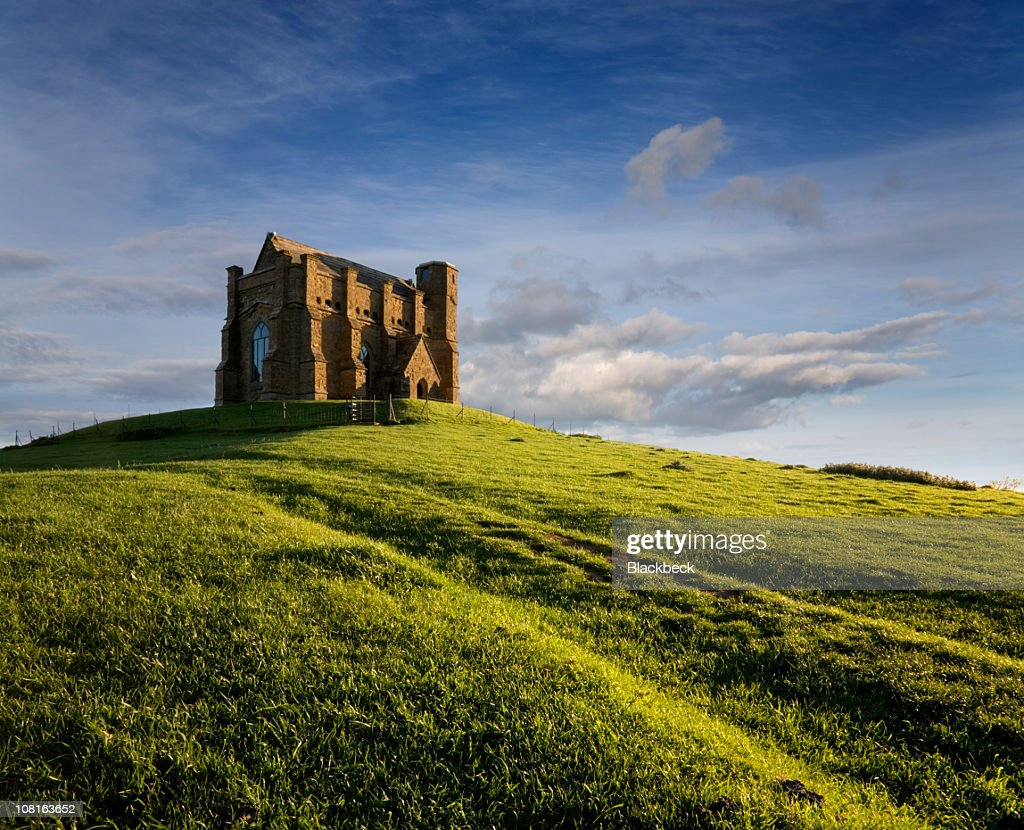 St Catherine's Chapel on Green Hill During Evening Sun