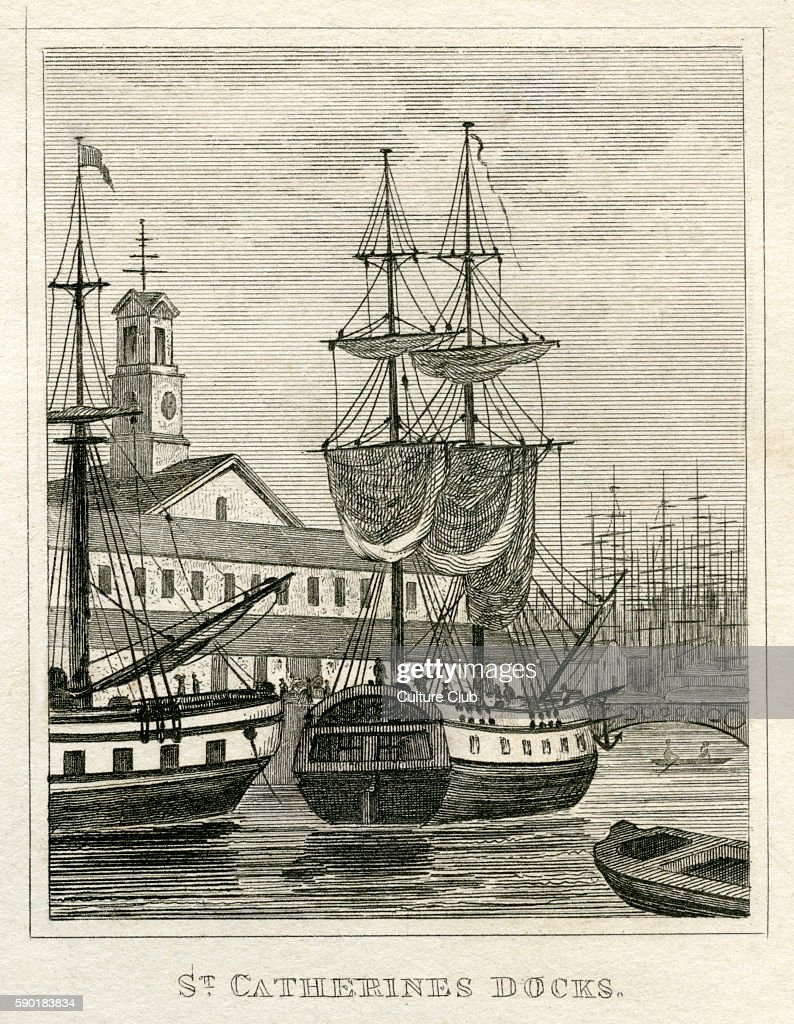 St Catherine's Docks London Constructed 1825 From 1835 print