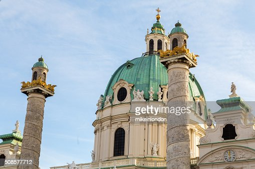 St. Charles's Church in Vienna Closeup : Bildbanksbilder