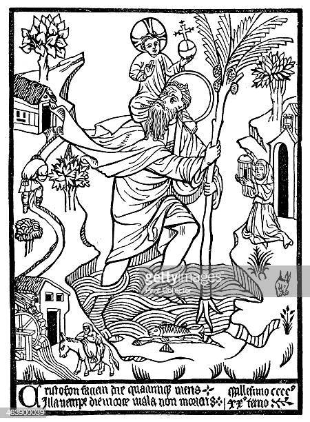 St Christopher carrying Christ across the stream Legend has it that St Christopher was a 3rd century Canaanite giant whose task was to carry...