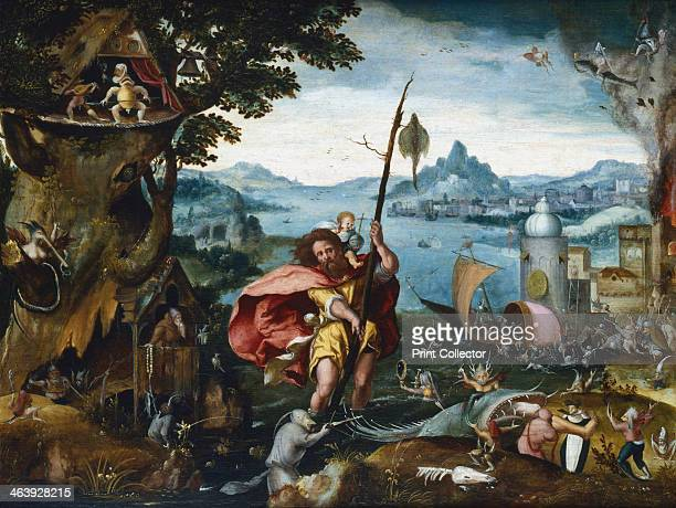 'St Christopher Crossing the River' 1506c1527 St Christopher reaches the bank with the Christ Child on his shoulder The landscape is filled with...