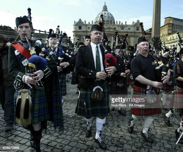 St Columba's School Band play the Scottish anthem 'Flower of Scotland' outside the Vatican in Rome in aid of the Marie Curie Cancer Trust shortly...