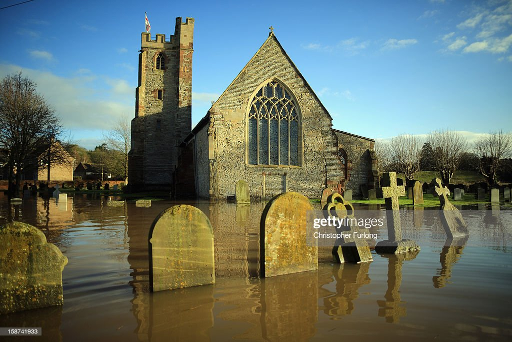 St Denys' Church suffers from flooding in the village of Severn Stoke near Worcester on December 27, 2012 in Worcester, England. 2012 could be the UK's wettest year on record according to forecasters and there are currently 88 flood warnings and 207 flood alerts in England and Wales. The Environment Agency in Hereford and Worcestershire are expecting further heavy rain, delaying a clean up until after the weekend.