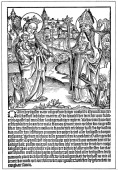 St Dionysius praying to the Virgin and Child for help to overcome the curse of Syphilis Early woodcut from flysheet published Regensberg German...