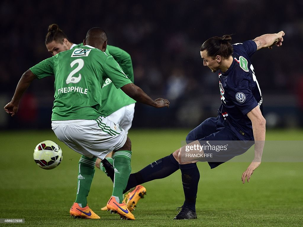 St Etienne's French defender Kevin Theophile-Catherine (L) vies with Paris Saint-Germain's Swedish forward <a gi-track='captionPersonalityLinkClicked' href=/galleries/search?phrase=Zlatan+Ibrahimovic&family=editorial&specificpeople=206139 ng-click='$event.stopPropagation()'>Zlatan Ibrahimovic</a> (R) during the French Cup semi-final football match Paris Saint-Germain (PSG) vs Saint-Etienne (ASSE) on April 8, 2015 at the Parc des Princes stadium in Paris.