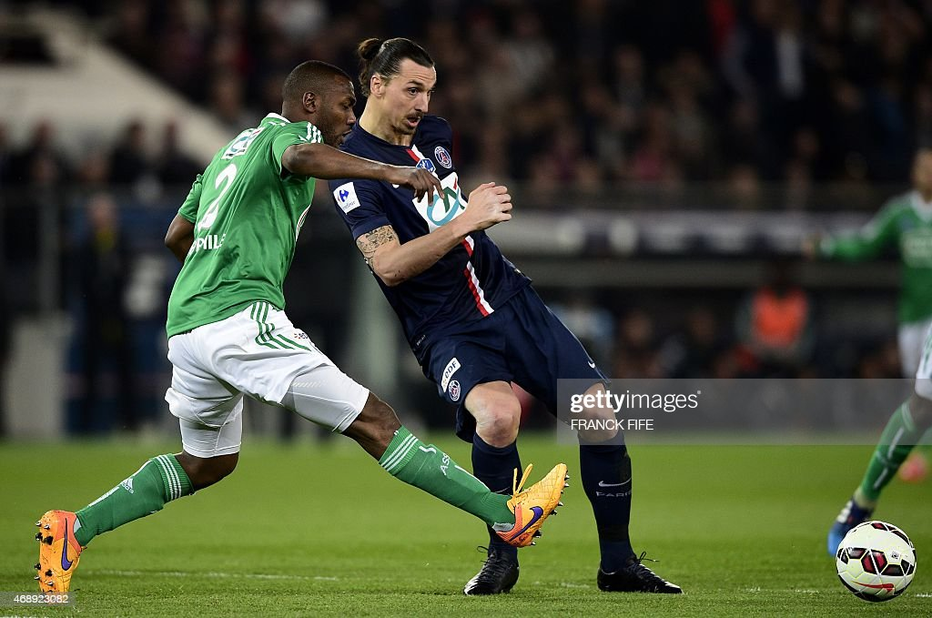 St Etienne's French defender Kevin Theophile-Catherine (L) vies with Paris Saint-Germain's Swedish forward <a gi-track='captionPersonalityLinkClicked' href=/galleries/search?phrase=Zlatan+Ibrahimovic&family=editorial&specificpeople=206139 ng-click='$event.stopPropagation()'>Zlatan Ibrahimovic</a> during the French Cup semi-final football match Paris Saint-Germain (PSG) vs Saint-Etienne (ASSE) on April 8, 2015 at the Parc des Princes stadium in Paris.