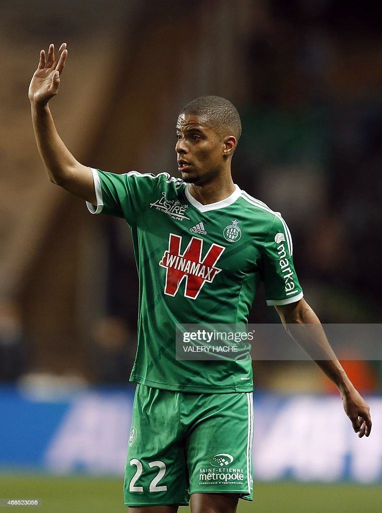 St Etienne's French forward <a gi-track='captionPersonalityLinkClicked' href=/galleries/search?phrase=Kevin+Monnet-Paquet&family=editorial&specificpeople=4044138 ng-click='$event.stopPropagation()'>Kevin Monnet-Paquet</a> gestures during the French L1 football match Monaco and Saint Etienne on April 3, 2015 at the Louis II Stadium in Monaco. AFP PHOTO / VALERY HACHE