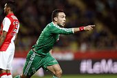 St Etienne's French forward Mevlut Erding celebrates after scoring a goal during the French L1 football match Monaco and SaintEtienne on April 3 2015...