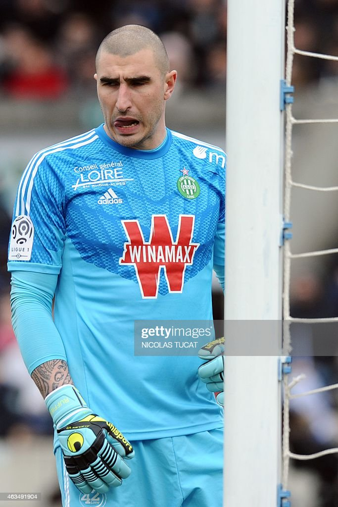 St Etienne's French goalkeeper <a gi-track='captionPersonalityLinkClicked' href=/galleries/search?phrase=Stephane+Ruffier&family=editorial&specificpeople=4978820 ng-click='$event.stopPropagation()'>Stephane Ruffier</a> reacts during the French L1 football match between Girondins de Bordeaux (FCGB) and Saint-Etienne (ASSE) on February 15, 2015 at the Chaban-Delmas stadium in Bordeaux, southwestern France. AFP PHOTO / NICOLAS TUCAT