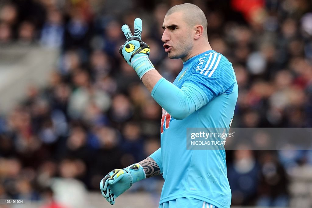 St Etienne's French goalkeeper <a gi-track='captionPersonalityLinkClicked' href=/galleries/search?phrase=Stephane+Ruffier&family=editorial&specificpeople=4978820 ng-click='$event.stopPropagation()'>Stephane Ruffier</a> reacts during the French L1 football match between Girondins de Bordeaux (FCGB) and Saint-Etienne (ASSE) on February 15, 2015 at the Chaban-Delmas stadium in Bordeaux, southwestern France.