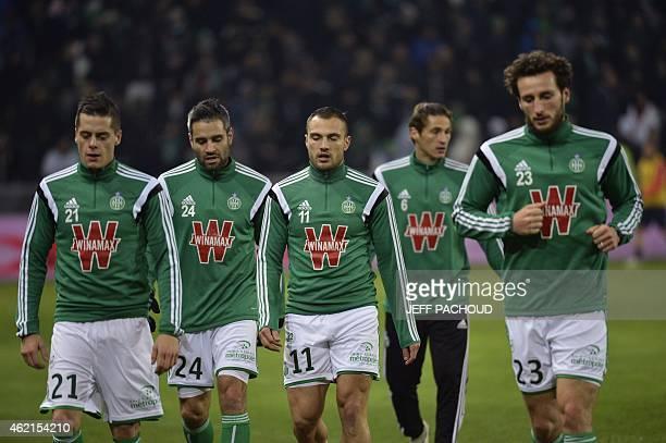 St Etienne's French midfielder Romain Hamouma St Etienne's French defender Loic Perrin St Etienne's French midfielder Yohan Mollo and St Etienne's...