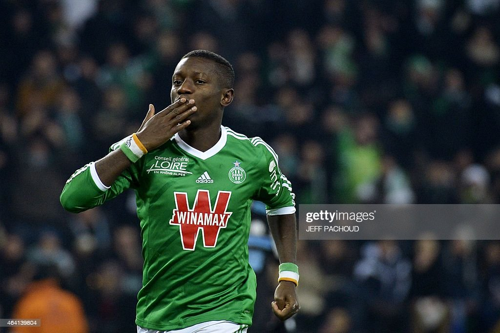 St Etienne's Ivorian forward Max-Alain Gradel celebrates after scoring a penalty during the French L1 football match AS Saint-Etienne (ASSE) vs Olympique de Marseille (OM) on February 22, 2015, at the Geoffroy Guichard Stadium in Saint-Etienne, central France.