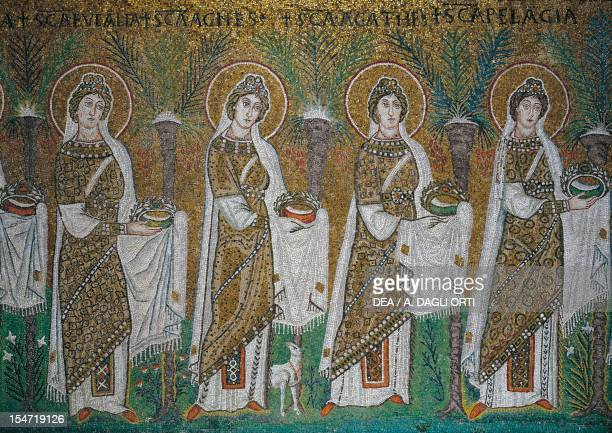 St Eulalia St Agnes St Agatha and St Pelagia detail from the Holy Virgins Procession mosaic north wall lower level Basilica of Sant'Apollinare Nuovo...