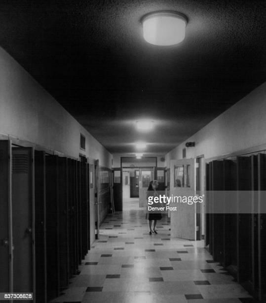 St Francis De Sales High School Empty Hallway and Empty Lockers Remain at St Francis De Sales Contemplating the emptyness is Sister Laura Frances...